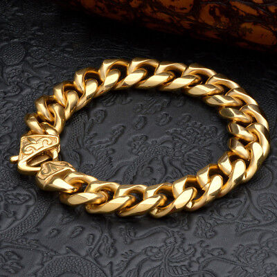 Top Quality 316L Stainless Steel 18K Gold Plated Curb Cuban Mens Chain Bracelet
