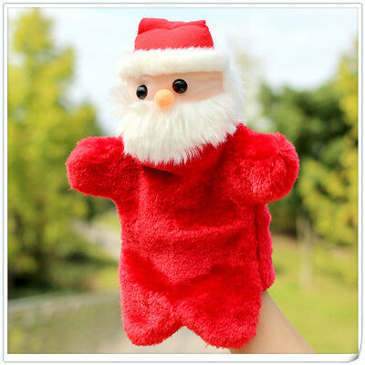 Xmas Gift Santa Claus Hand Puppet Doll Kids Early Educational Soft Plush Toys