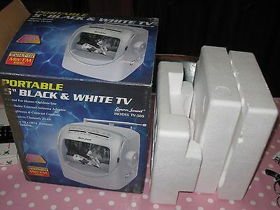 Portable 5 inch Black and White TV by Lenoxx Sound with Built in MW/FM Radio