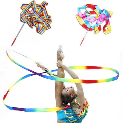 Gym Dance Ribbon Rhythmic Art Gymnastic Streamer Baton Twirling Rod Stick 4M UK