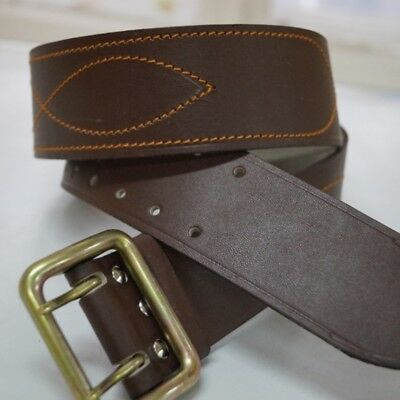 Russian Military Belt Original Army and Police Officer Brown Stitched