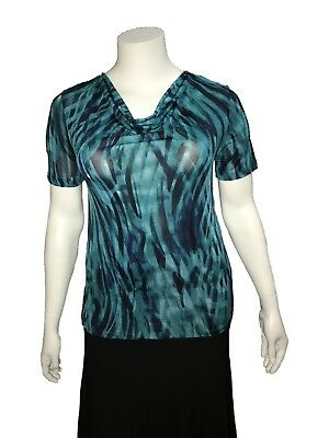 Noni B Teal Print Top great for Type Dancing - Size M - A Grade Condition