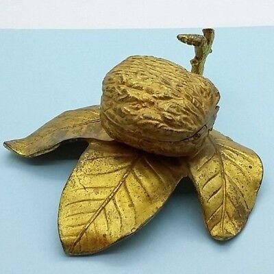 Antique Inkwell, Walnut Leaves Nuts Gilt Metal Original Condition French.
