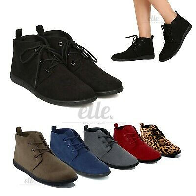 New Women Slip On Lace Up Faux Suede Flat Heel Ankle Boots Casual Booties