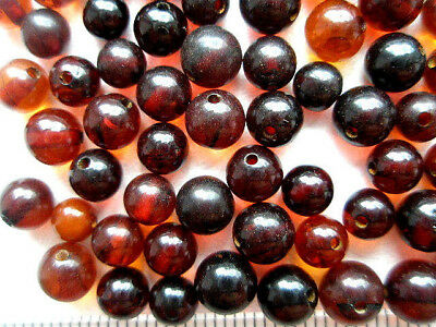 REAL BAROQUE BALTIC AMBER HOLED LOOSE ROUND 50 BEADS (4 - 4,5 gr )