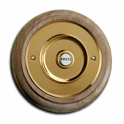 """Natural Oak Plinth, Unvarnished, with 100mm dia. (4"""") Brass Push Button"""