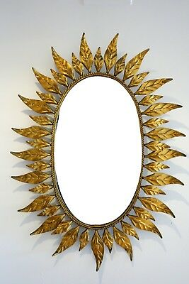 Espejo vintage sol metal dorado hojas 60's sunburst mirror metal sunburst leaves