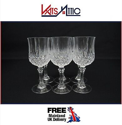 Set of 6 Cristal D' Arques Longchamp 24% Lead Crystal Wine Glasses