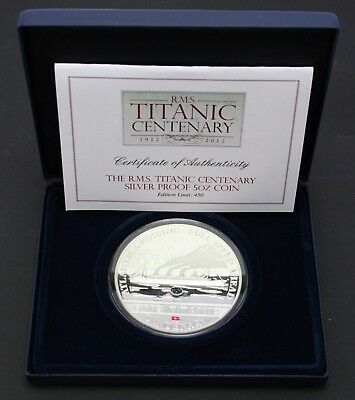 2012 Cook Is. RMS Titanic Centenary Silver Proof 5oz Coin .925 Silver w/ Coal