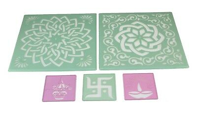 5pc Rangoli Stencils powder color stencils sand art floor decoration Diwali LRG