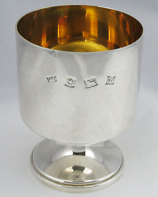 Vintage Hallmarked Solid Silver Whiskey Goblet Gilt lined