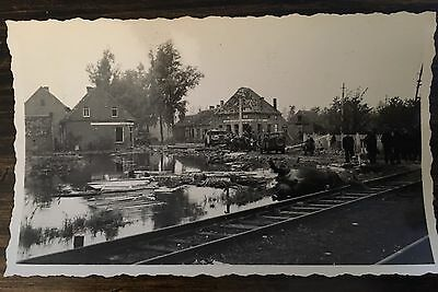 WW ll Photo Holland Flooded  Dead Animal Tracks Jeeps Authentic Photo Described