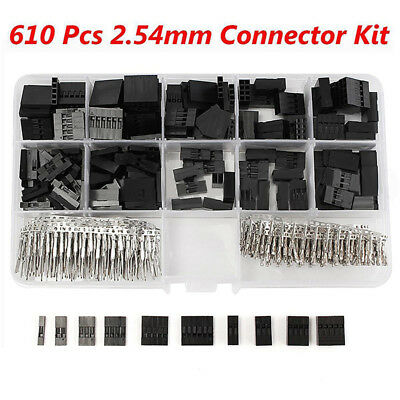 610Pcs/Set Dupont Crimp Pin Connector Header Jumper Wire Terminal Housing Crimp