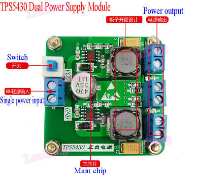 TPS5430 Positive Negative Dual Power Supply Module with Switching ±12V output