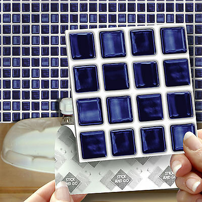 18 Blue Mosaic Stick On Self Adhesive Wall Tile Stickers For Kitchen & Bathroom