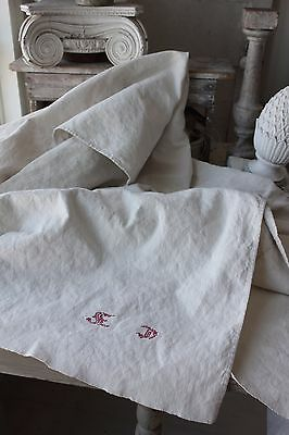 Antique hemp French sheet 19th 83 in by 74 inches HEAVY Metis linen cotton mix