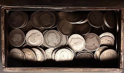 1816-1919 sterling silver shilling coins in a Japanese Silver box [162] coins