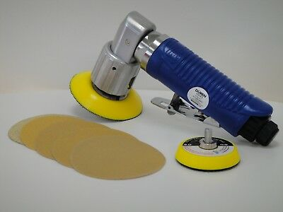 Air Mini Dual Action DUREN Sander 75mm COMPLETE WITH BOX 25 SANDING DISC
