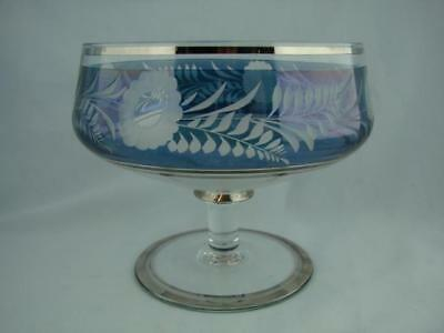 Beautiful Wheel Cut And Etched Blue Lustre & Clear Glass Pedestal Bowl