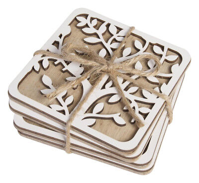 Drink Coasters Tree of Life Natural White Cork Back Dining Kitchen *Set of 4*