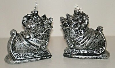 """2 SANTA & SLEIGH Plastic """"Pewter Look"""" Ornaments set of 2 New with Tags"""