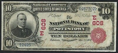 Fr613 $10 1902 Red Seal The Nb Of Pottstown, Pa Ch #608 Vf+ Unique Wlm4446