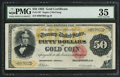 Fr1197 $50 1882 Gold Cert Pmg 35 Choice Vf Wlm4452