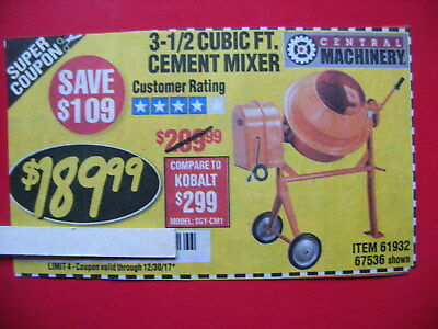 HARBOR FREIGHT SAVE $109 ***COUPON*** for 3 1/2 cubic ft. cement mixer