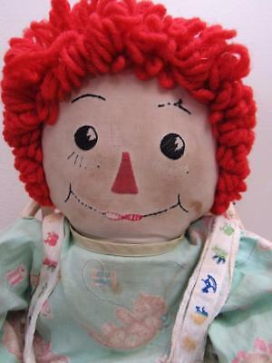 "Vtg 1940s Cloth Doll 21"" RAGGEDY ANN Beautifully Mommy Made WITH LOVE"