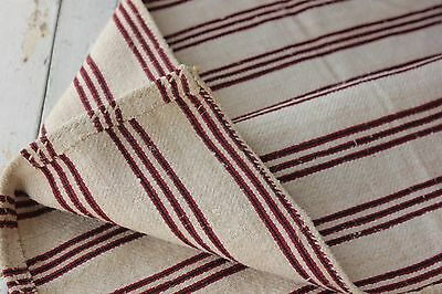 Antique Folk Art textile pillow grain sack hand woven red striped Hemp linen old