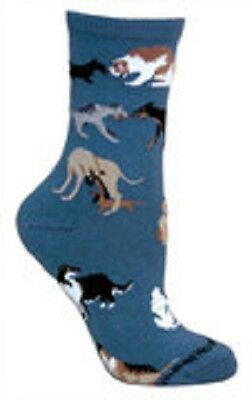Dogs All Over Socks Blue Size Large by Wheelhouse Design NWT