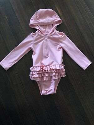 Baby Gap One Piece Swimsuit Hooded Pink Size 6-12 Months
