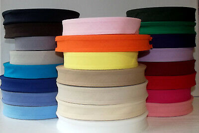 Bias Binding Tape 100% Plain Cotton 25mm wide 1 2 3 5 or 10m and 25+ colours
