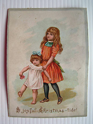 Victorian Christmas Card - Two Pretty Girls Playing *
