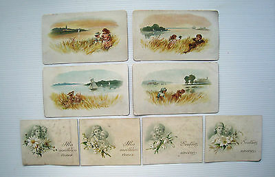 8 x Assorted Victorian Greetings Cards - Children with Flowers & by the River*