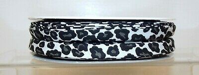 Clearance! Bias Binding Tape 100% Cotton 25mm wide 1 3 or 5m Leopard Print Grey