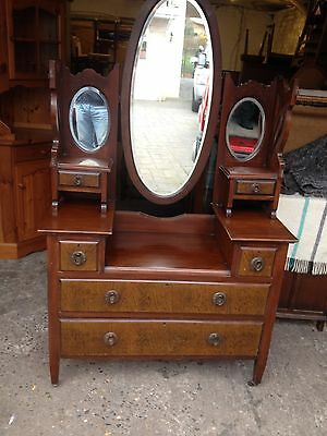Edwardian Mahogany Dressing Table Mahogany  Chest of Drawers with Mirrors