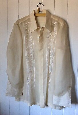 Vintage 1960's Dress Shirt Silk MN's Handmade Embroideries Philippines Size L