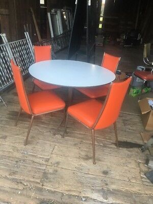 VTG Dinette Dining Room Set 1950s Atomic Orange Table 4 Chairs Vinyl Mid Century
