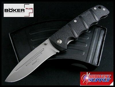 "Boker AK 74 Knife 3"" AUS8 Stainless Steel Blade Black Aluminum Handle 4 ½ Closed"