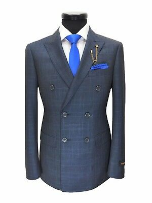 PAMONI Grey/Blue Prince Of Wales Check Double Breasted Slim Fit Suit