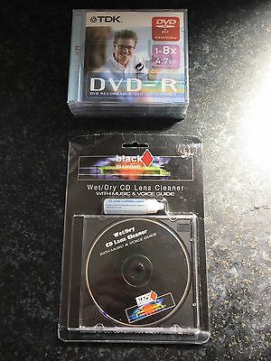 4 Tdk Blank Dvd-r 4.7gb And Lens Cleaner
