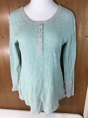 Liz Lange Maternity Thermal Shirt 1/4 Button Target Size Green Large & XL New