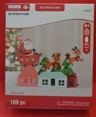 Chrstmas Noel 3D Structure 109pc Santa on Sleigh by Creatology New