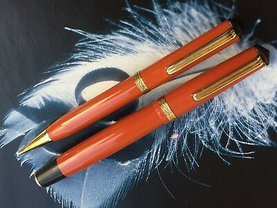 Penol Ambassador SCOUT Coral Red SET of Fountain Pen & Pencil