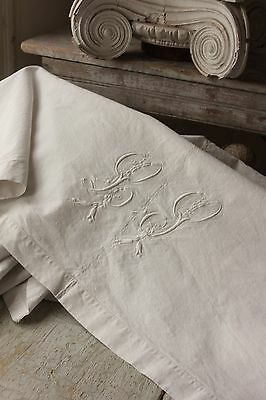 Antique French linen sheet trousseau 74X98 LP ? monogram linen cotton mix