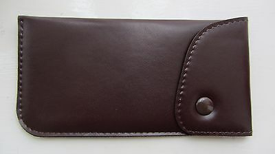 Soft glasses case, popper, button top, leather look, dark brown spectacle (G1)