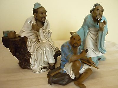 3 Chinese Shiwan Mud Men Figures