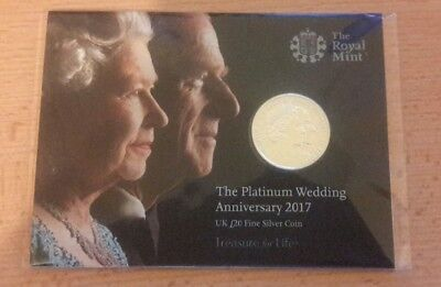 £20 Silver Coin - 2017 - Platinum Wedding Anniversary. New & ready to despatch