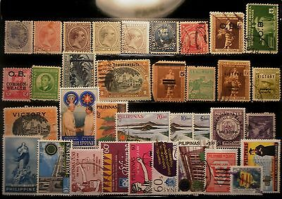 (H230) Philippines Spanish, American, Japanese & Republic stamps used/some mint